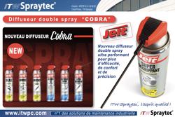Jelt équipe ses aérosols d'un nouveau diffuseur à double spray Cobra.  dans - - - ACTUALITE GRAISSES. 250.2-1460